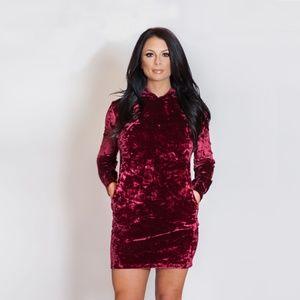 Dresses & Skirts - Red Velvet Hoodie Dress